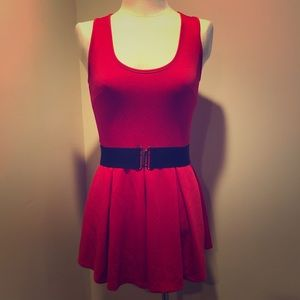 3/$20 Bright Red Dress w/ Removable Belt